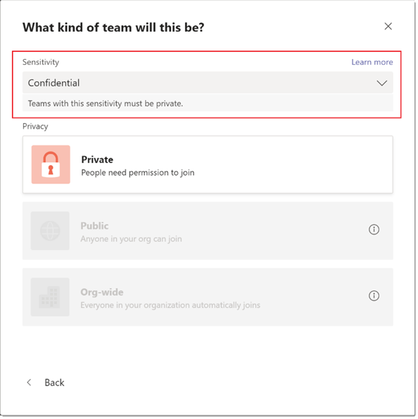 What kind of team will this be?  Sensitivity  Confidential  Teams with this sensitivity must be private.  Private  people need permission to join  Public  Org-wide  Everyone In your orqamzattcn automat:caliy 'O'n  Back  Learn more