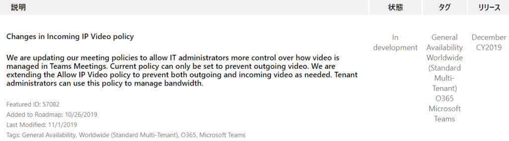 IJY-Ä  December  CY2019  Changes in Incoming IP Video policy  We are updating our meeting policies to allow IT administrators more control over how video is  managed in Teams Meetings. Current policy can only be set to prevent outgoing video. We are  extending the Allow IP Video policy to prevent both outgoing and incoming video as needed. Tenant  administrators can use this policy to manage bandwidth.  In  development  Featured ID: 57082  Added to Roadmap: 10/26/2019  Last Modified: 11/1/2019  Tags: General Availability, Worldwide (Standard Multi-Tenant),  General  Availability  Worldwide  (Standard  Multi-  Tenant)  0365  Microsoft  Teams  0365  , Microsoft Teams