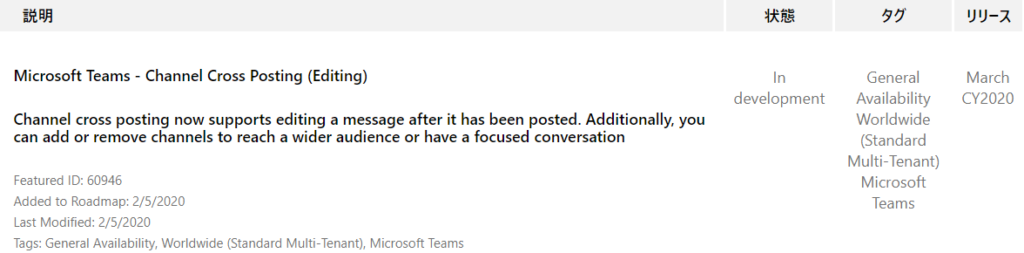 IJY-Ä  March  CY2020  Microsoft Teams - Channel Cross Posting (Editing)  Channel cross posting now supports editing a message after it has been posted. Additionally, you  can add or remove channels to reach a wider audience or have a focused conversation  Featured ID: 60946  Added to Roadmap: 2/5/2020  Last Modified: 2/5/2020  Tags: General Availability, Worldwide (Standard Multi-Tenant), Microsoft Teams  In  development  General  Availability  Worldwide  (Standard  Multi-Tenant)  Microsoft  Teams