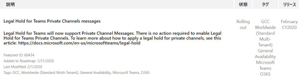 YIJ-Ä  February  CY2020  Legal Hold for Teams Private Channels messages  Legal Hold for Teams will now support Private Channel Messages. There is no action required to enable Legal  Hold for Teams Private Channels. To learn more about how to apply a legal hold for private channels, see this  article: https://docs.microsoft.com/en-us/microsoftteams/legal-hold  Rolling  out  Featured ID: 60434  Added to Roadmap: 1/31/2020  Last Modified: 2/1/2020  Tags: GCC, Worldwide (Standard Multi-Tenant), General Availability, Microsoft Teams,  0365  55  GCC  Worldwide  (Standard  Multi-  Tenant)  General  Availability  Microsoft  Teams  0365