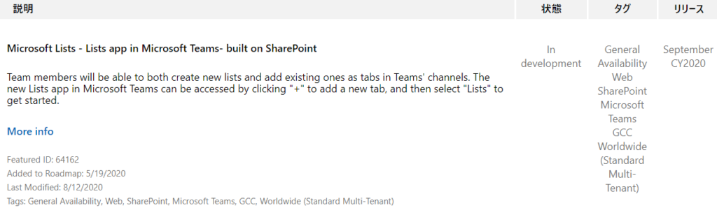 "IJIJ-Ä  September  CY2020  Microsoft Lists - Lists app in Microsoft Teams- built on SharePoint  Team members will be able to both create new lists and add existing ones as tabs in Teams' channels. The  new Lists app in Microsoft Teams can be accessed by clicking "" +1' to add a new tab, and then select ""Lists ' to  get started.  More info  Featured ID: 64162  Added to Roadmap: 5/19/2020  Last Modified: 8/12/2020  Tags: General Availability, Web, SharePoint, Microsoft Teams, GCC, Worldwide (Standard Multi-Tenant)  In  development  General  Availability  Web  SharePoint  Microsoft  Teams  GCC  Worldwide  (Standard  Multi-  Tenant)"