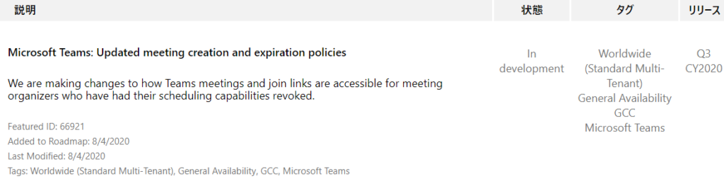 IJY-Ä  CY2020  Microsoft Teams: Updated meeting creation and expiration policies  We are making changes to how Teams meetings and join links are accessible for meeting  organizers who have had their scheduling capabilities revoked.  Featured ID: 66921  Added to Roadmap: 8/4/2020  Last Modified: 8/4/2020  Tags: Worldwide (Standard Multi-Tenant), General Availability, GCC, Microsoft Teams  In  development  55  Worldwide  (Standard Multi-  Tenant)  General Availability  GCC  Microsoft Teams