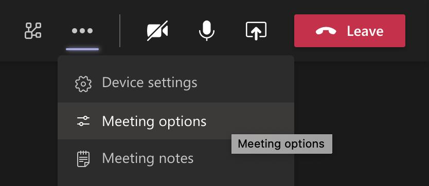 Teams meeting settings
