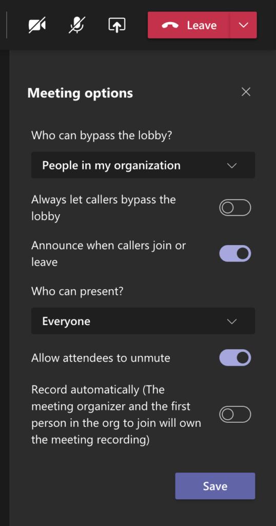 Teams meeting options