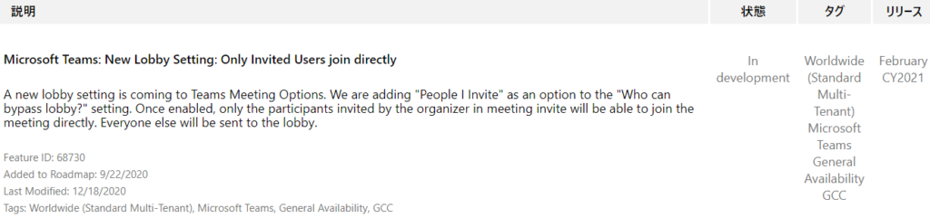 """IJY-Ä  February  CY2021  Microsoft Teams: New Lobby Setting: Only Invited Users join directly  A new lobby setting is coming to Teams Meeting Options. We are adding """"People I Invite"""" as an option to the """"Who can  bypass lobby?"""" setting. Once enabled, only the participants invited by the organizer in meeting invite will be able to join the  meeting directly. Everyone else will be sent to the lobby.  In  development  Feature ID: 68730  Added to Roadmap: 9/22/2020  Last Modified: 12/18/2020  Tags: Worldwide (Standard Multi-Tenant), Microsoft Teams, General Availability,  Worldwide  (Standard  Multi-  Tenant)  Microsoft  Teams  General  Availability  CCC  CCC"""
