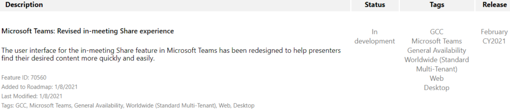 Description  Microsoft Teams: Revised in-meeting Share experience  The user interface for the in-meeting Share feature in Microsoft Teams has been redesigned to help presenters  find their desired content more quickly and easily.  Feature ID: 70560  Added to Roadmap: 1/8/2021  Last Modified: 1/8/2021  Tags: GCC, Microsoft Teams, General Availability, Worldwide (Standard Multi-Tenant), Web, Desktop  Status  In  development  Tags  CCC  Microsoft Teams  General Availability  Worldwide (Standard  Multi-Tenant)  Web  Desktop  Release  February  CY2021