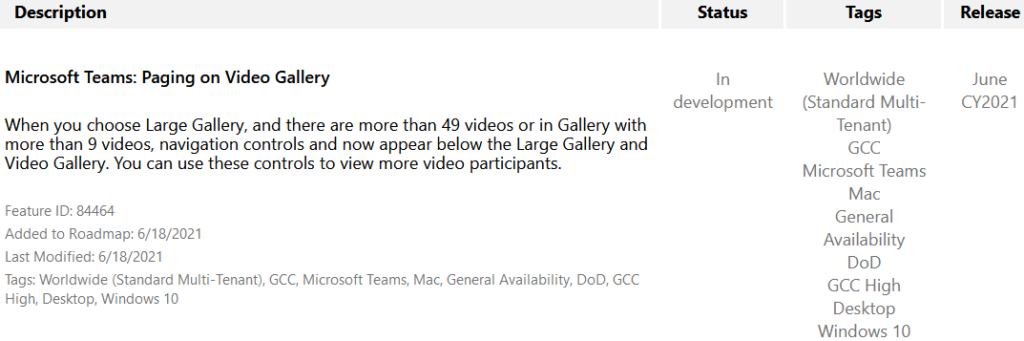 Description  Microsoft Teams: Paging on Video Gallery  When you choose Large Gallery, and there are more than 49 videos or in Gallery with  more than 9 videos, navigation controls and now appear below the Large Gallery and  Video Galley. You can use these controls to view more video participants.  Status  In  development  Tags  Worldwide  (Standard Multi-  Tenant)  GCC  Microsoft Teams  Mac  General  Availability  DoD  CCC High  Desktop  Windows 10  Release  June  CY2021  Feature ID: 84464  Added to Roadmap: 6/18/2021  Last Modified: 6/18/2021  Tags: Worldwide (Standard Multi-Tenant),  High, Desktop, Windows 10  CCC  , Microsoft Teams, Mac, General Availability,  DOD, CCC